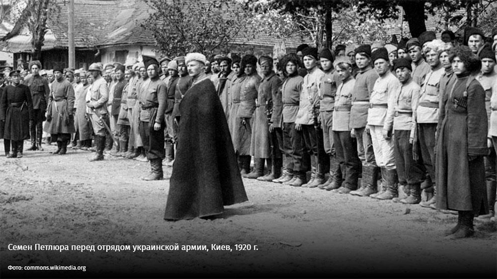 Семен Петлюра перед отрядом украинской армии, Киев, 1920 г