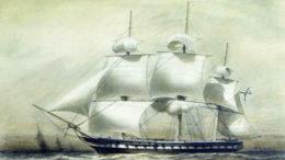 """Фрегат """"Паллада"""". Алексей Петрович Боголюбов. Графика, 1847, 25×35 см."""