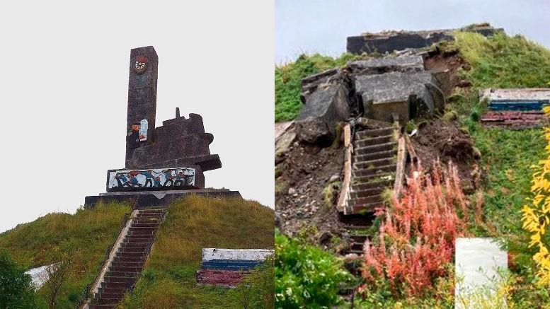 Монумент советским героям-подводникам Северного флота в поселке Лиинахамари Мурманской области
