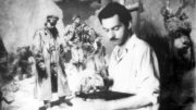 """Художник работает над картиной """"Расплата"""" (1956-1957 гг.)."""